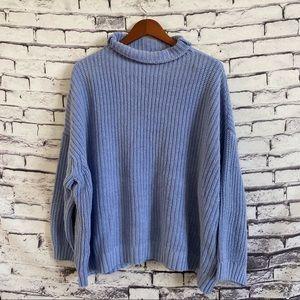 American Eagle Blue Turtleneck Knit Sweater